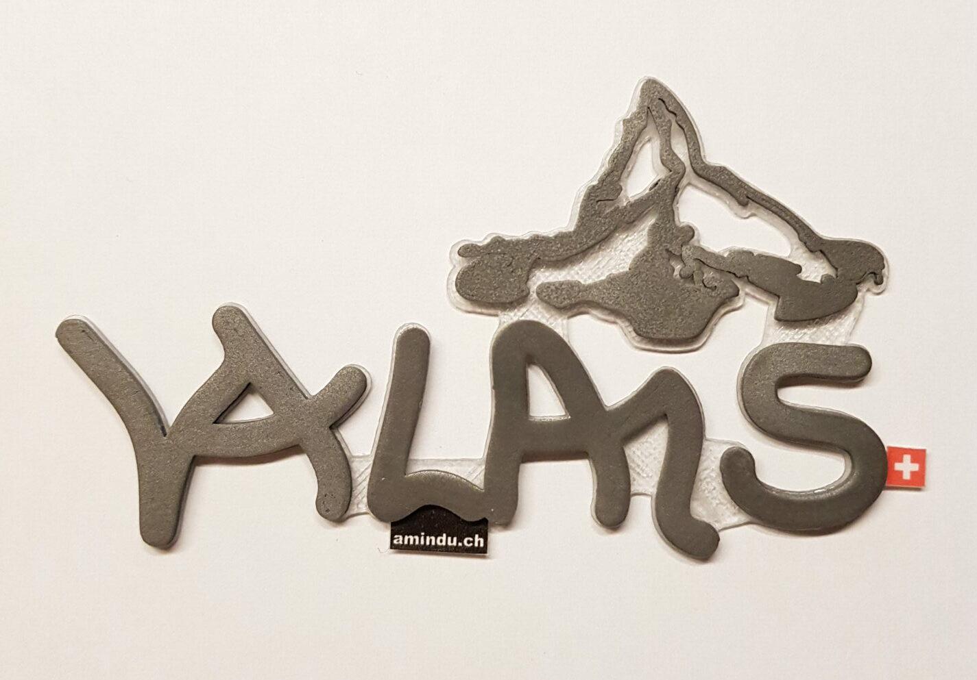 3D Aufkleber Valais Stahl