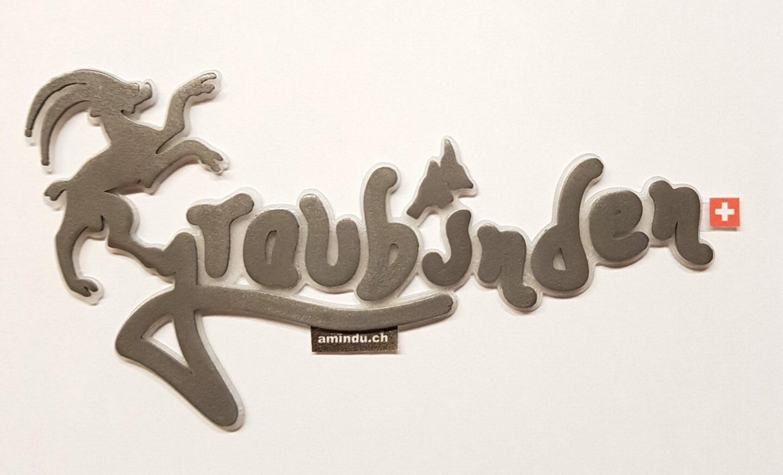 3D Aufkleber Graubünden Stahl